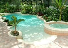 Breathtaking Beach Entries for pools in Central Florida - Aguapools Beach Entry Pool, Backyard Beach, Backyard Pool Designs, Beach Pool, Backyard Ideas, Backyard Landscaping, Backyard Patio, Landscaping Ideas, Zero Entry Pool