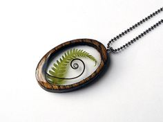 Resin and Wood Necklace Pendant with Tendril and Fern Leaf: Nature Jewelry with Real Plants