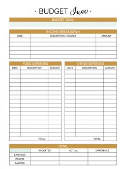 free monthly budget printable diy ideas pinterest budgeting