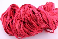 Bright Red: Reclaimed Silk Yarn Ribbon from DGY