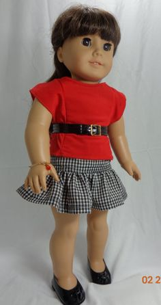 Black Gingham Skirt and Red Blouse for American by MissyCrissy2, $30.00