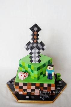 Minecraft birhday Cake - Cake by Victoria Mkhitaryan Cakes&Desserts Birhday Cake, Minecraft S, Cakes For Boys, Cube, Wedding Cakes, Pokemon, Food And Drink, Victoria, Sweets
