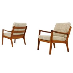 Pair of Midcentury Ole Wanscher Danish Teak Easy Chairs, Denmark, 1960s