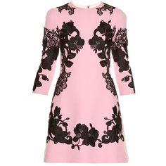 Dolce & Gabbana Lace-appliqué crepe mini dress ($2,995) ❤ liked on Polyvore featuring dresses, light pink, lace mini dress, short dresses, floral skater skirt, floral mini dress and short floral dresses