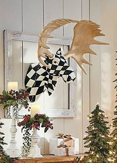 This holiday season, hang the Harlequin Moose Head for a stylish and unique focal point that is sure to serve as a conversation piece.