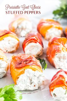 These low-carb Prosciutto Goat Cheese Stuffed Peppers are a great keto appetizer! Make sure to source mini sweet peppers so they'll be bite sized. Low Carb Appetizers, Appetizer Recipes, Snack Recipes, Easter Recipes, Mini Hamburgers, Cheese Stuffed Peppers, Stuffed Sweet Peppers, Prosciutto, Wine Recipes