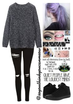 """""""Untitled #12"""" by soyouthinkyoucanmeow ❤ liked on Polyvore featuring Topshop, Toast and Converse"""