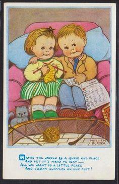 Di primo acchito pensavo fosse una cartolina di Mabel Lucie Attwell, poi ho controllato la firma e, seppure scritto in stampatello come q...