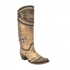 Corral Women's Brown and Chocolate Wide Collar and Studs Cowgirl Boots