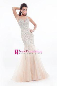 2015 Perfect Scoop Mermaid/Trumpet Prom Dresses Tulle with beads