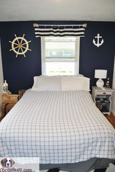nautical themed bedroom makeover using blue and white home