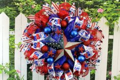 4th of July Wreath Deco Mesh Patriotic by SouthernCharmFlorals, $58.95 SOLD