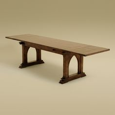 Rose Tarlow Melrose House. Pugin Table. Antiqued walnut stain... reminds me of a certain local bridge... could use that for inspiration