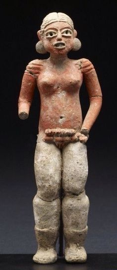 Female Figure Period: 900-600 BC earthenware, post-fire paint/pigment (red, white, and black), with incising Measurements:(13.1 x 4.3 x 2.6 cm) Teopantecuanitlán area, Guerrero, Mexico. Xochipala style, a distinctive artistic tradition found in the highlands of Guerrero in Western Mexico.
