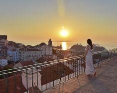 Sunrise in Lisbon, Portugal / polka dot dress Portuguese Tiles, Lisbon Portugal, Sitting Area, Sounds Like, Dot Dress, Places To See, The Good Place, Pergola, Sunrise
