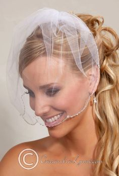 A soft birdcage veil made of illusion with a scalloped edgeadorned with bugle beads and crystal beads.The illusion is 9 inches long. Length 9inches Width 9