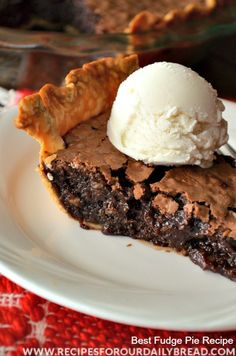 "Best Fudge Pie Ever!! One bite creates a warm, creamy, dreamy chocolate sensation in your mouth!! I know that sometimes I over use the word ""love"", but you will really love this pie!!"