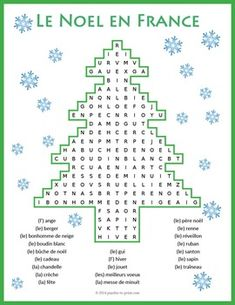 A fun word search puzzle for the holiday season featuring French Christmas vocabulary. Students must look in all directions (including diagonally and backwards) to find the 22 words associated with Noel. Christmas Word Search, Christmas Puzzle, Christmas Words, French Flashcards, French Worksheets, Worksheets For Kids, Christmas Worksheets, Christmas Activities, Learn To Speak French
