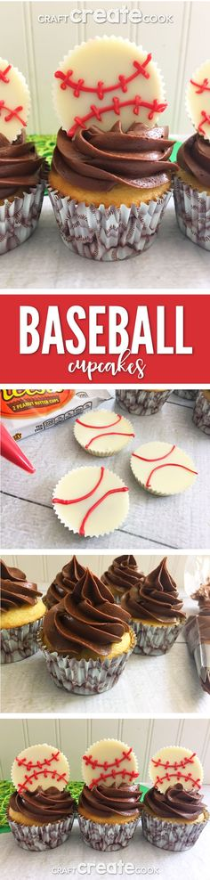 These easy to make Home Run Baseball Cupcakes are sure to be a big hit.  via @CraftCreatCook1