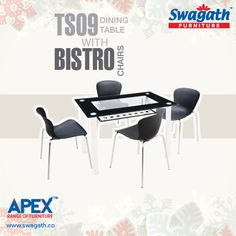 Swagath's APEX range of #furniture collections offers an executive TS09 dining #table with Bistro #chairs for your dining room at a very reasonable price!!