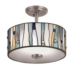 """Zoomed: Portfolio 13"""" Brushed Nickel Clear Glass Semi-Flush Mount Light - potentially for our hallway.  Love this, perfect beachy colors."""