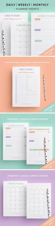 Get excited to plan with this set consisting of a daily planner page, weekly planner spread and monthly planner spread. These printable planning pages have been professionally designed and have a clean and simple look. Click here for more info.