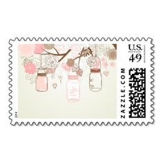 Country Wedding Mason Jar Pink Postage Stamp. This is a fully customizable business card and available on several paper types for your needs. You can upload your own image or use the image as is. Just click this template to get started!