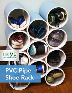 Clear the clutter with this funky DIY PVC Pipe Shoe Rack. Stop tripping over shoes and get your mudroom or front hall organized with this simple solution.