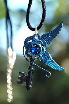 Blue Swirl Key Necklace. $24.00, via Etsy.