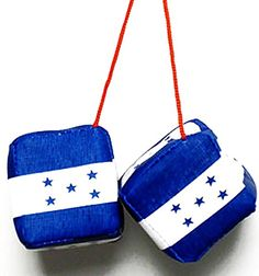 "Cool & Custom {w/ String} Single Pair of ""Fuzzy, Furry & Fluffy Plush Dice"" Rear View Mirror Hanging Ornament Decoration w/ Honduras National Star Flag Design [Jaguar Blue, White & Red Color] mySimple Products"