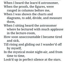 "Walt Whitman ""When I Heard The Learn'd  Astronomer"""