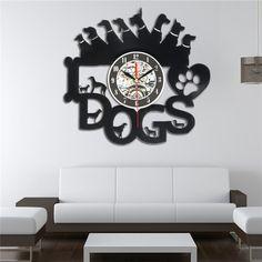 Acrylic Balck Dogs Art Vinyl Wall Clock Gift Room Modern Home Record Vintage Decoration 29.5 X 28cm Vinyl Record Wall Clock