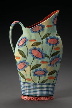 Nancy Gardner Ceramics:  Earthenware Pitcher. One of a Kind Show Chicago http://artist.oneofakindshowchicago.com/detail.cfm?position_of_record=385&exhib_id=32A1CE10-C40F-718F-C566BDCE01A040A0&show_id=7A54B5D4-CE1B-C5D5-A9F0403FFC2851EE