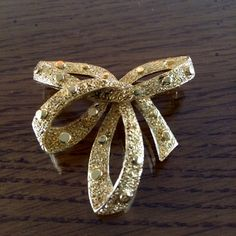 Vintage TRIFARI Ribbon Brooch  Gold Tone  Gift for by junkiejools