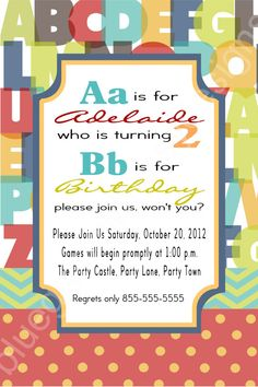2nd Birthday Alphabet Party Invitation by BluegrassWhimsy on Etsy, $12.00 .... ABC theme??