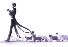 Sebastian and his cats.................... what are we going to do with him?