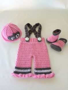 Baby Girl Firefighter Fireman Crochet Pink Hat Outfit - 4pc Turn Out Gear w/Suspenders & Boots - Photography Prop - Newborn - 0-3 by TimelessCrochetCraft on Etsy
