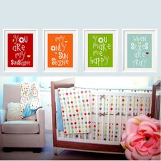 You Are My Sunshine Prints - with Birds 4 pc Set 11x14 in Customize your colors by YassisPlace