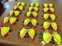 A personal favorite from my Etsy shop https://www.etsy.com/listing/232949285/12-softball-bows-with-ribbons-of-choice