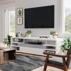 Buy White, Over 60 Inches, Modern & Contemporary TV Stands & Living Room White, Living Room Tv, Living Room Modern, Apartment Living, Living Room Furniture, Living Room Designs, Tv Stand For Bedroom, Tv Stand Ideas For Living Room, Contemporary Tv Stands