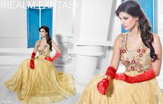 Superbly Designed Party Wear Gown in Netted Fabric with Santoon inner in Golden color with beautiful Diamond Hand work done. Best for Parties and Ceremonial Occasions. Party Wear Long Gowns, Evening Party Gowns, Net Gowns, Floral Patches, Work Party, Gowns Of Elegance, Anarkali Dress, Designer Gowns, Designing Women