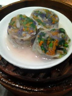 Vegetable Rolls in Beancurd Skin with Watermelon Sauce: From Tim Ho Wan. SINGAPORE