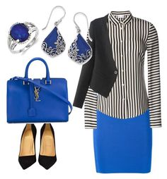 """""""Royal Blue"""" by mercedes-acosta-benitez on Polyvore featuring T By Alexander Wang, Christian Louboutin, Yves Saint Laurent, RED Valentino, Kevin Jewelers, Natures Jewelry, women's clothing, women's fashion, women and female"""