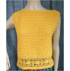 Vintage 1980 Hand Made Gold Crochet Jumper Sweater Size 14