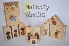 These ones are homemade blocks with stickers on then.  Then the are covered in a coat of modge podge. Kids can play with them all they want, rather than having a fragile nativity that they aren't allowed to touch.