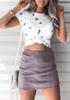#summer #outfits / pattern print top + leather skier