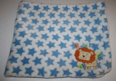 Soft plush Baby Blanket by Absorba It has a Lion and Roar in the bottom corner. It's a White with Blue Stars blankey. Perfect for a  Baby Boy Blanket Security Soft Lovey  #Absorba #LionRoarBabyBlanket
