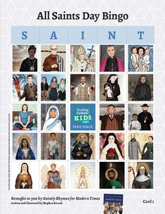 Use these cards to celebrate the feast day. Beautiful, modern illustrations of saints. Saints For Kids, All Saints Day, Catholic Kids, Catechism, Bingo, Illustrations, Teaching, Mom, Modern