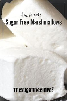 The best homemade recipe for sugar free marshmallow! So delicous and easy to do! this is How to Make Sugar Free Marshmallows, keto friendly. Sugar Free Sweets, Sugar Free Recipes, Diabetic Recipes, Keto Recipes, Dessert Recipes, Diabetic Deserts, Candy Recipes, Healthy Snacks, Healthy Eating