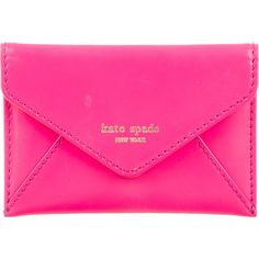 Pre-owned Kate Spade New York Leather Envelope Cardholder (315 PEN) ❤ liked on Polyvore featuring bags, wallets, clutches, pink, kate spade bags, snap bag, genuine leather wallet, snap closure wallet and pink wallet